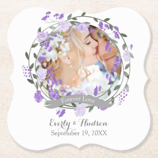 Purple Peony Floral Wreath Wedding Paper Coaster
