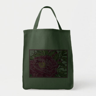 Purple Peony Flowers Garden Painting Canvas Bag