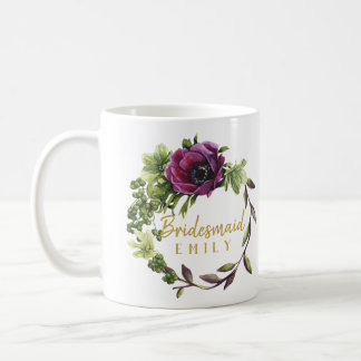 Purple Peony Wreath Bridesmaid Name ID456 Coffee Mug