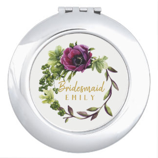Purple Peony Wreath Bridesmaid Name ID456 Mirror For Makeup