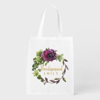 Purple Peony Wreath Bridesmaid Name ID456 Reusable Grocery Bag