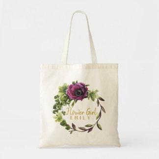 Purple Peony Wreath Flower Girl Name ID456 Tote Bag