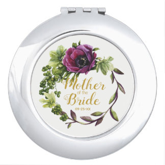 Purple Peony Wreath Mother of the Bride ID456 Travel Mirrors