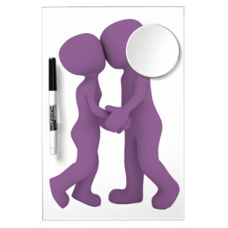 PURPLE PEOPLE IN LOVE DRY ERASE BOARD WITH MIRROR