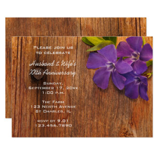 Purple Periwinkle and Barn Wood Anniversary Party Card