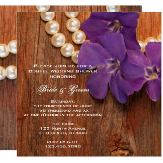 Purple Periwinkle Barn Wood Country Couples Shower Card