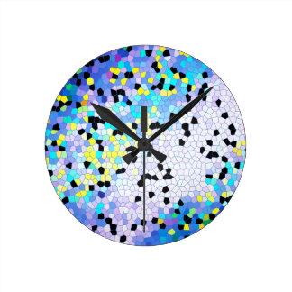 Purple Periwinkle Blue & Black Mosaic Pattern Clock