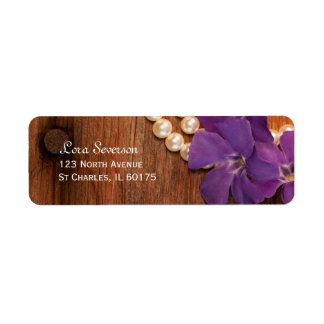 Purple Periwinkle, Pearls and Barn Wood Country Return Address Label