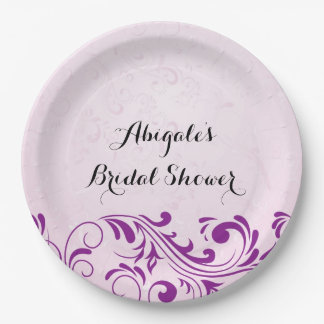 Purple Personalised Bridal Shower Party Plates 9 Inch Paper Plate
