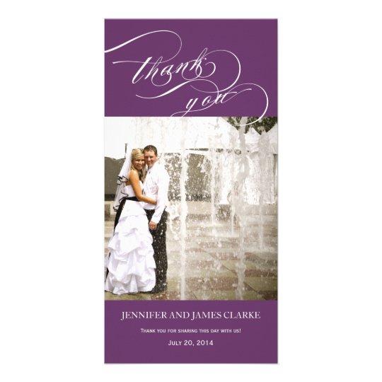 Purple Personalised Script Photo Wedding Thank You Card