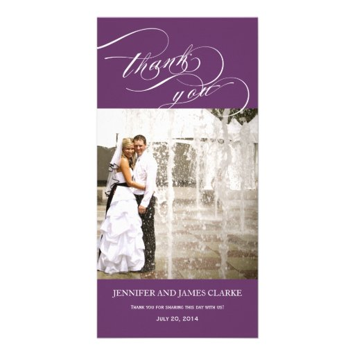 Purple Personalised Script Photo Wedding Thank You Customised Photo Card