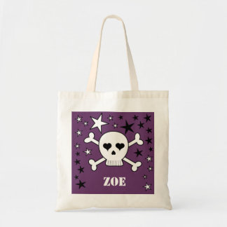 Purple Personalizeable Crossbone Skull and Stars Canvas Bags