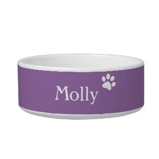 Purple  | Personalized Cat Dish Pet Food Bowl