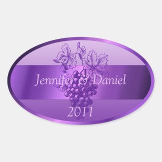 Purple Personalized Custom Wine Labels Oval Sticker