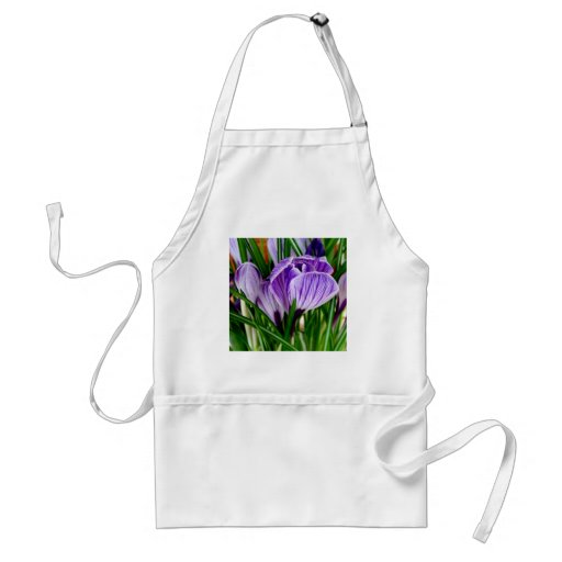 Purple Petals Crocus Flower Aprons