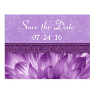 Purple Petals Save the Date Post Card V4