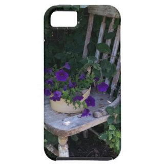 Purple Petunia Flowers on Wooden Garden Chair iPhone 5 Case