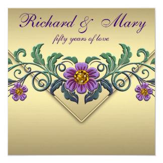 Purple Petunia Gold 50th Wedding Anniversary Card