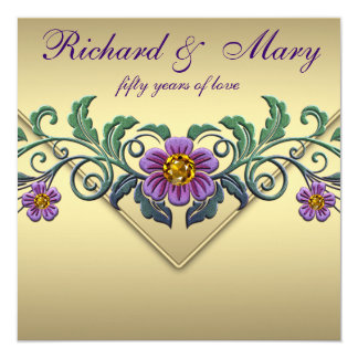Purple Petunia Gold 50th Wedding Anniversary Card
