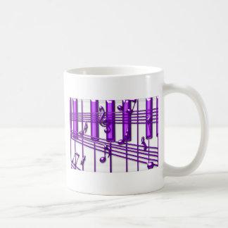 Purple Piano Keyboard Music Notes Coffee Mug