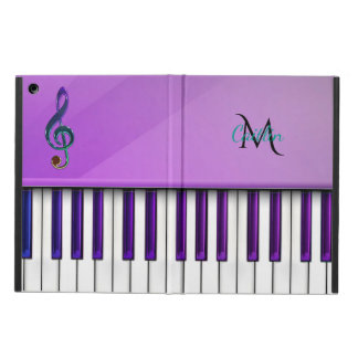 Purple Piano Monogram Music Clef iPad Air Cover