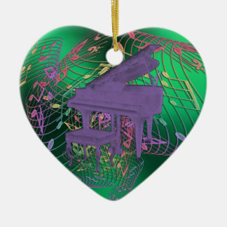 Purple Piano Music Notes Heart Christmas Ornament