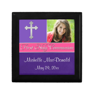 Purple, Pink 1st Communion Keepsake Jewellery Box Small Square Gift Box