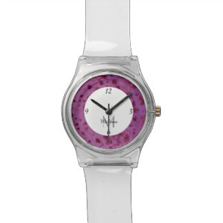 Purple pink abstract distressed pattern Monogram Watch