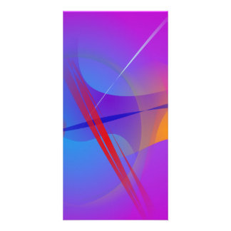 Purple Pink Abstract Space with Red Impact Picture Card