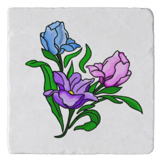 Purple, Pink and Blue Flowers Trivet
