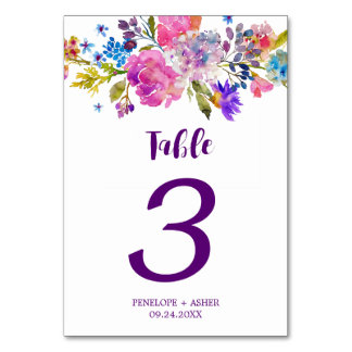 Purple Pink and Blue Flowers Wedding Table Number