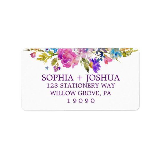 Purple Pink and Blue Watercolor Flowers Wedding Address Label