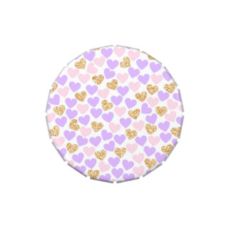 Purple, pink and gold hearts Candy Favor Tin Jelly Belly Candy Tins