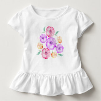 Purple Pink and Orange Anemone floral watercolor Toddler T-Shirt