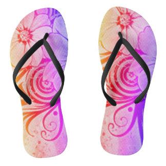 Purple, Pink and Orange Floral Thongs