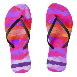Purple, pink and orange tie dye flip flops