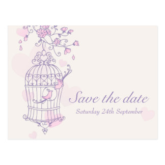 Purple pink bird cage wedding save the date card postcard