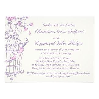 Purple pink birds open cage wedding invitation