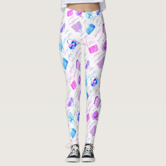 Purple Pink Blue Floral Illustrations Typography Leggings