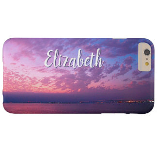 Purple pink & blue ocean sunset photo custom name barely there iPhone 6 plus case