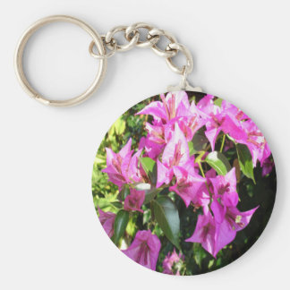 Purple Pink Bougainvillia In Blossom Basic Round Button Key Ring