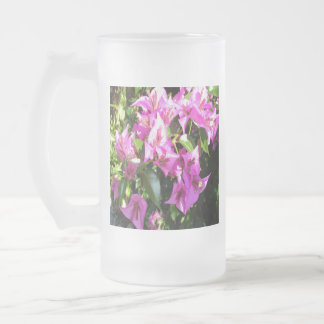 Purple Pink Bougainvillia In Blossom Frosted Glass Beer Mug