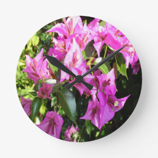 Purple Pink Bougainvillia In Blossom Round Clock