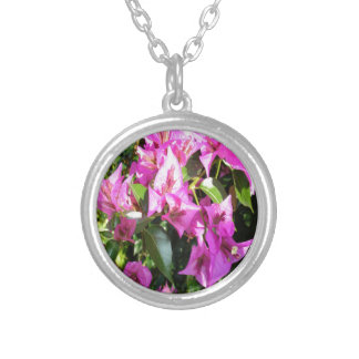 Purple Pink Bougainvillia In Blossom Silver Plated Necklace