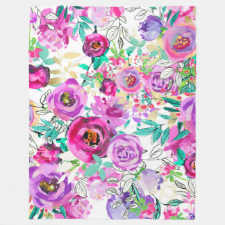 Purple Pink Bright Colorful Chic Modern Floral Fleece Blanket