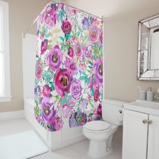 Purple Pink Bright Colorful Chic Modern Floral Shower Curtain
