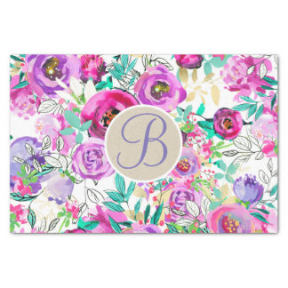 Purple Pink Bright Floral Monogram Letter Initial Tissue Paper
