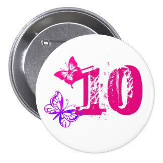 Purple, pink butterflies, '10' button for age 10.