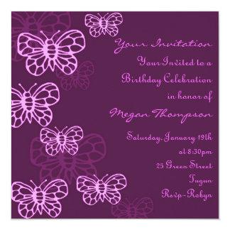 Purple & Pink Butterfly Birthday Invitation