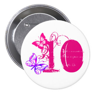 Purple, pink butterfly, pink '10' button age 10.